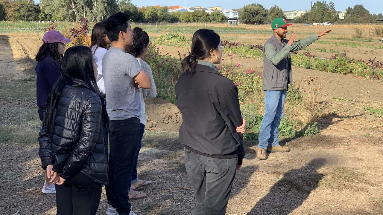 Chicanx Studies students at the Student Farm